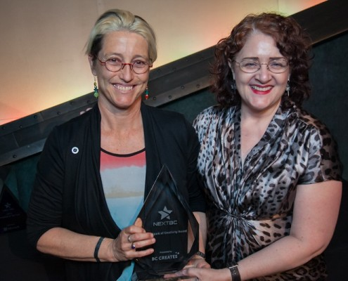(Left to right) Nicola Hardwood receives the Spark of Creativity Award from BC Magazines' Executive Director Sylvia Skene.