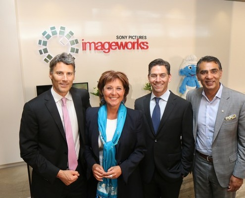 Mayor Gregor Robertson, Premier Christy Clark, Imageworks VP Randy Lake and Minister Amrik Virk attend the grand opening of Sony Pictures Imageworks at Vancouver.