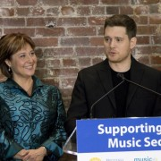 Premier Christy Clark and Michael Bublé at the announcement of the creation of the B.C. Music Fund.